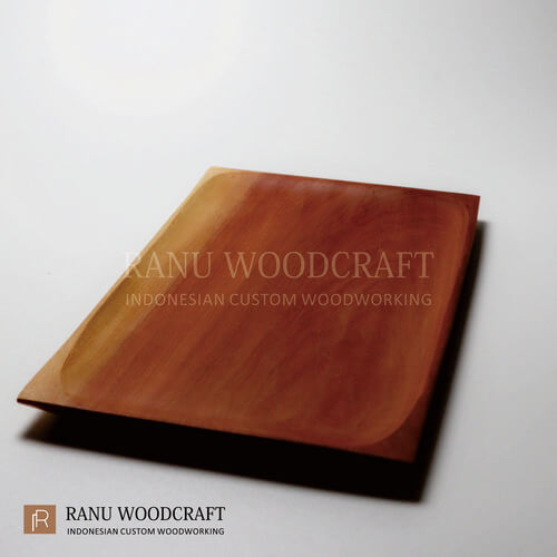 piring kayu kotak persegi panjang